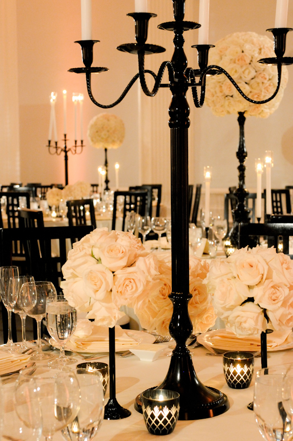 black and white wedding reception decor photo by Yvette Roman Photography