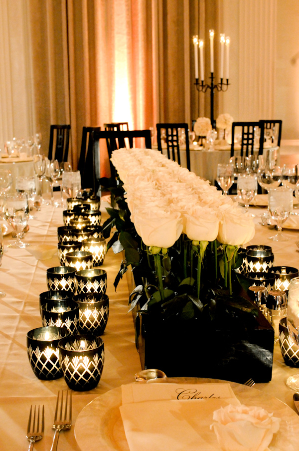 blacks and white wedding tabletop centerpiece photo by Yvette Roman Photography