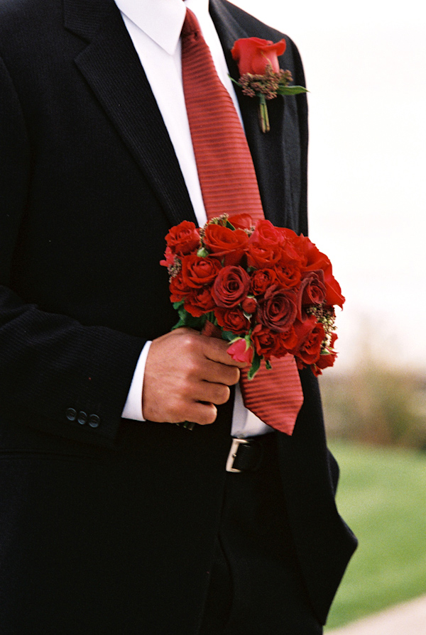 red rose wedding bouquet photo by Yvette Roman Photography