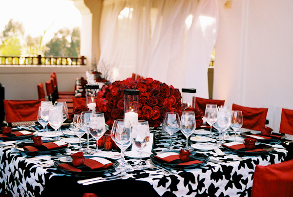 black, white and red wedding tabletop photo by Yvette Roman ...