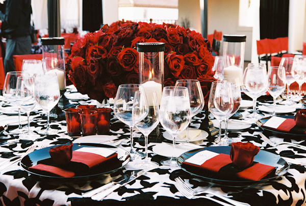 black, white and red wedding tabletop photo by Yvette Roman Photography