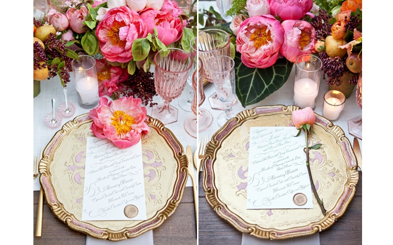 Rustic Wedding Table Setting By Casa De Perrin With Fruit And Floral Centerpieces Eddie Zaratsian