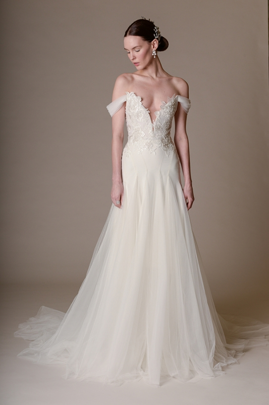 Marchesa - Spring Summer 2016 Bridal Collection - Marchesa Hyacinth Gown with Plunging Neckline