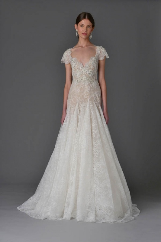 Marchesa - Spring and Summer 2017 Bridal Collection - Modified A-line lace gown with pearl and crystal-embroidered bodice and cap sleeve