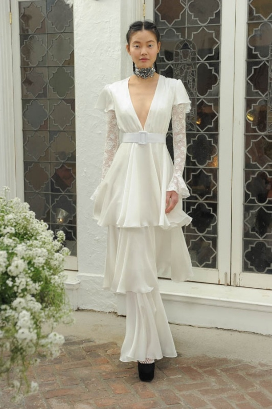 Houghton - Spring and Summer 2017 - Marina ivory silk chiffon tiered gown with deep V and short flutter sleeves, Viola bodysuit with