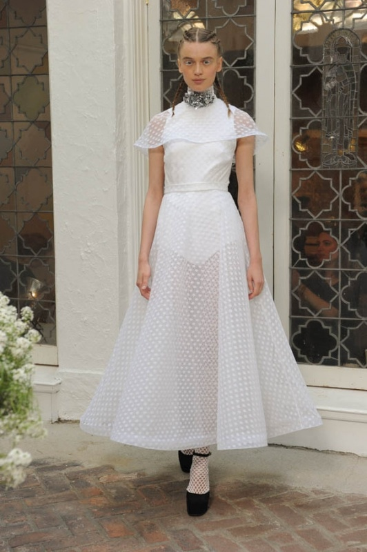 Houghton - Spring and Summer 2017 - Avalia high neck dress in white polka dot tulle with capelet trimmed in horsehair