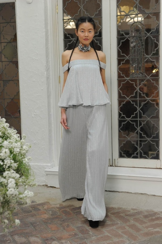 Houghton - Spring and Summer 2017 - Everly off the shoulder top in pleated silver lurex over matching Katharine high waisted wide leg trousers