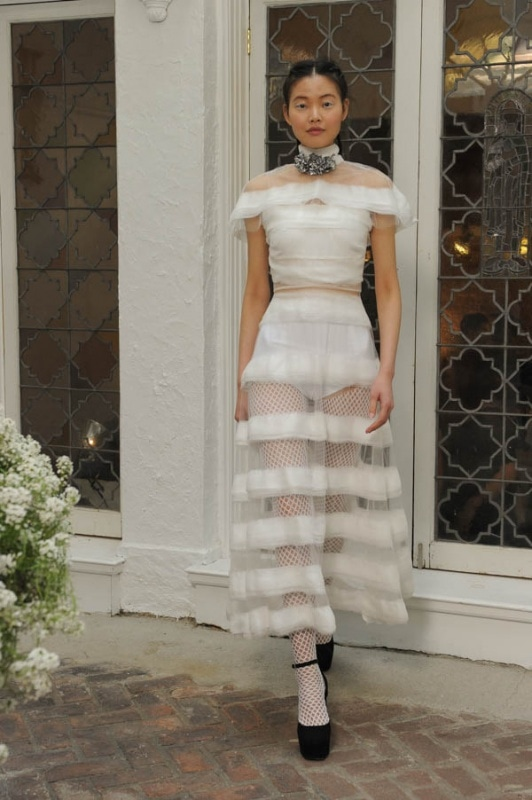 Houghton - Spring and Summer 2017 - Avalia high neck dress in white sheer chiffon stripes with capelet