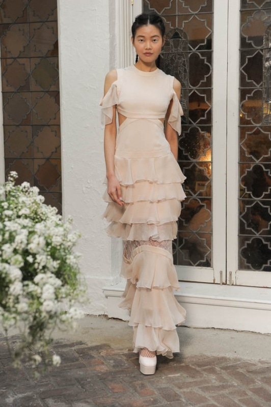 Houghton - Spring and Summer 2017 - Emily round neck blush silk sleeveless gown with layers of ruffles and off the shoulder details with cutouts