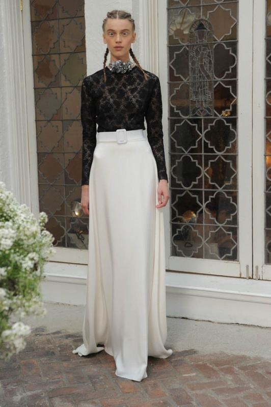 Houghton - Spring and Summer 2017 - Dickinson black lace long sleeve bodysuit, Nora A-line flowing ivory