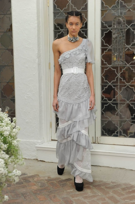 Houghton - Spring and Summer 2017 - Danica dove grey one shoulder French Guipure lace and chiffon layered gown