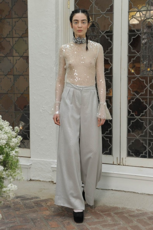 Houghton - Spring and Summer 2017 - Flame iridescent knit sequin bodysuit with bell sleeve, Katharine high