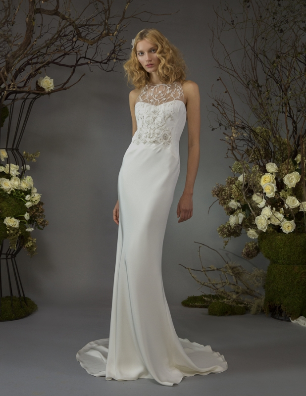 Anya Wedding Dress Backless Silk Crepe Bias Sheathe With Branching Flower Beaded Front Bodice