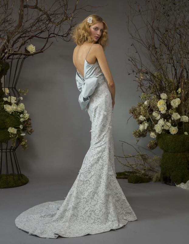 Elizabeth Fillmore - Fall Bridal 2014 Collection - Josephine Wedding Dress: powder blue silk taffeta and vine lace empire gown with beaded bodice and dramatic bow </p>