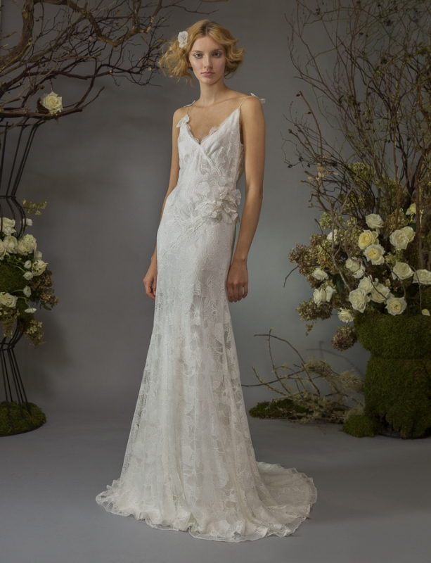 Elizabeth Fillmore - Fall Bridal 2014 Collection - Willa Wedding Dress: french lace v-neck slip dress with jasmine flower motif over satin chiffon</p>