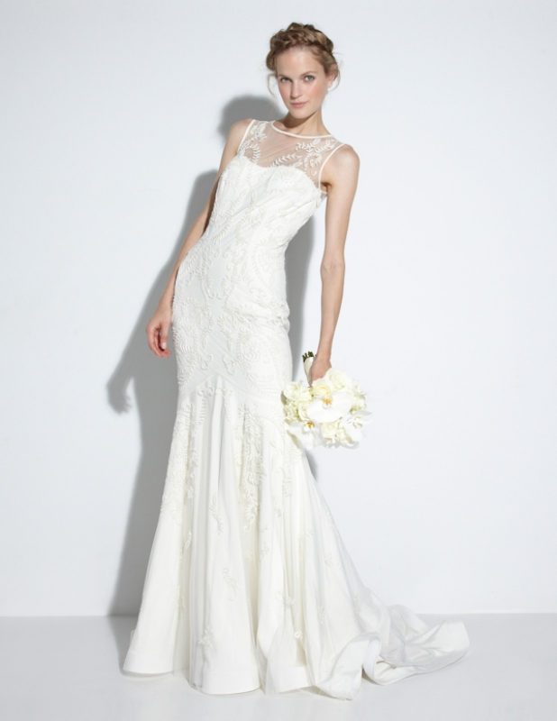 Nicole Miller - Fall 2014 Bridal Collection  - Leigh Bridal Gown</p>