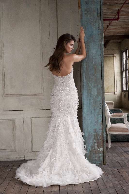 Enaura Bridal Couture - Spring 2014 Bridal Collection - Fit and flare gown with a sweetheart neckline and beaded throughout with cascading silk petal shaped appliques</p>