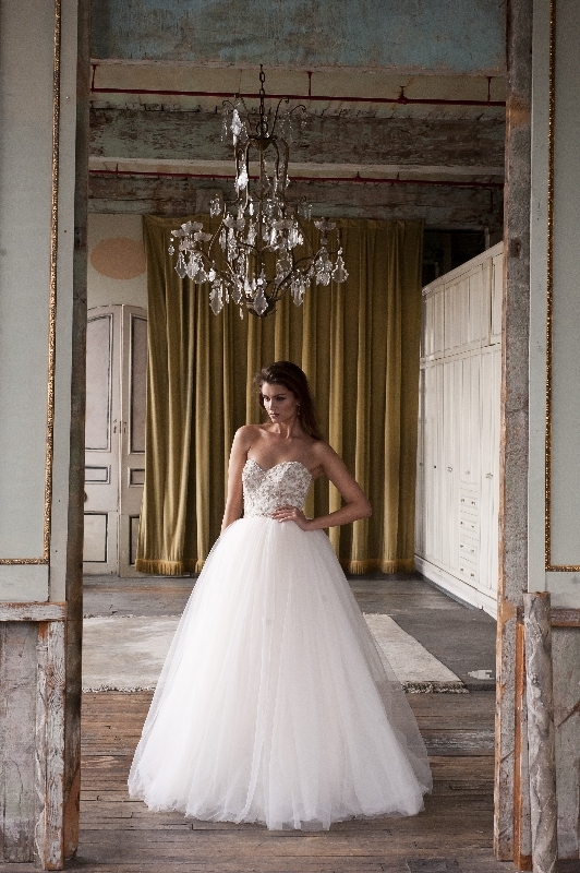 Enaura Bridal Couture - Spring 2014 Bridal Collection - Multi-colored tulle ball gown with beaded bodice and a strapless neckline</p>