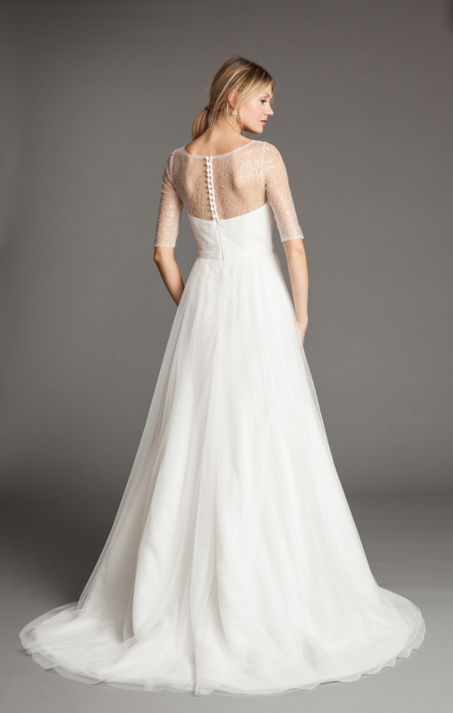 Camilla Wedding Dress A 3 4 Sleeve With Bateau Neckline In Sheer Illusion Sequin Tulle And Sweetheart Underlay