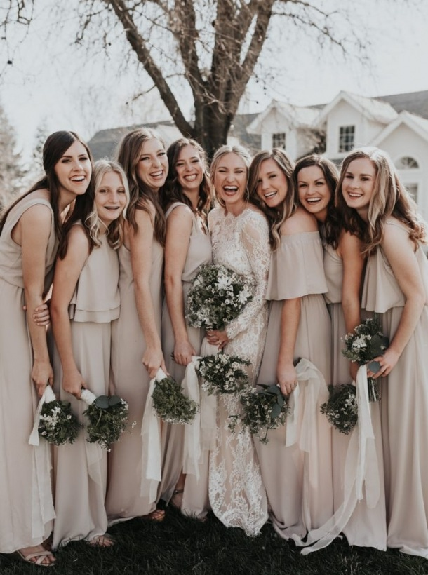 Junebug weddings best wedding photographers wedding planners these neutral bridesmaids dresses are subtle showstoppers junglespirit Images