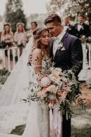 Boho Brides Will Want to Take Notes From This Blush and Navy Carl House Wedding