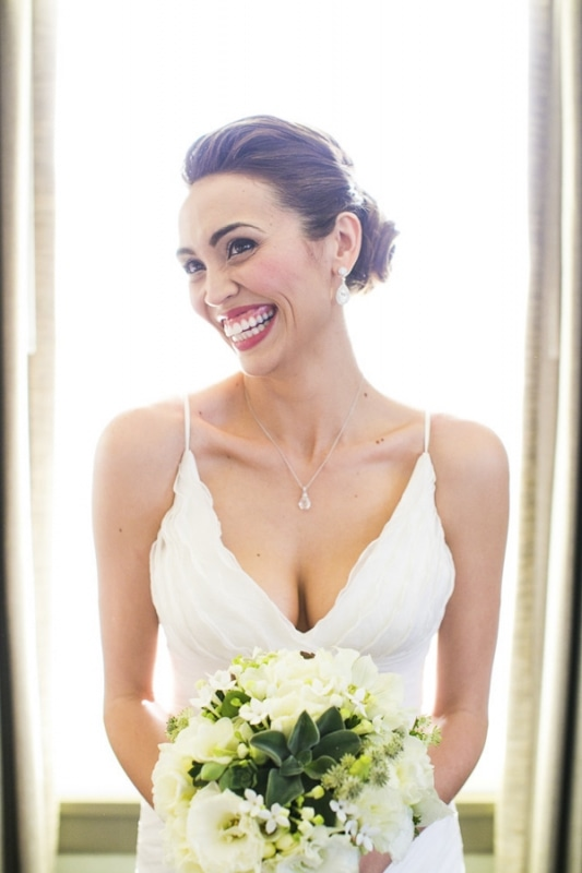 beautiful bride at eco-friendly Jewish wedding at AT&T Center, Los Angeles, photo by Callaway Gable
