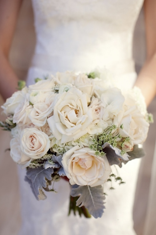 white rose bridal bouquet in vineyard wedding at Sunstone Winery, photo by Ashleigh Taylor Photography