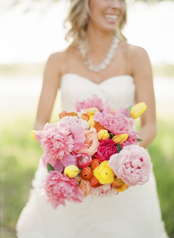 pink yellow and orange bouquet with peonies and tulips, photo by Taylor Lord Photography