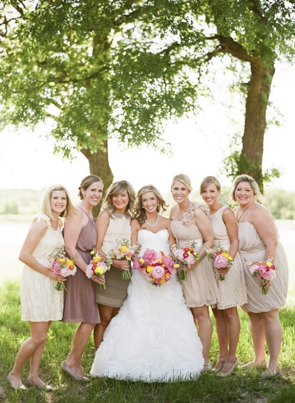 neutral bridesmaid dresses with bright bouquets, photo by Taylor Lord Photography