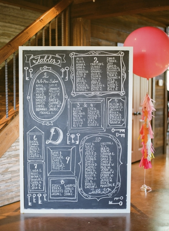 chalkboard escort sign at wedding reception, photo by Taylor Lord Photography