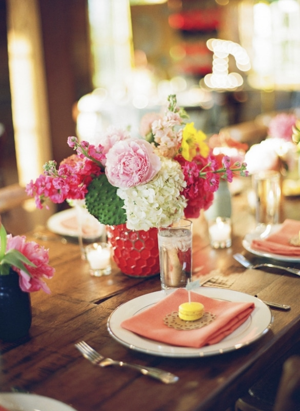 bright floral tabletop arrangements, photo by Taylor Lord Photography