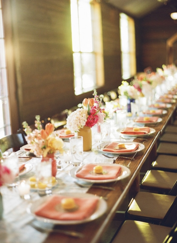 bright peach and pink table setting, photo by Taylor Lord Photography