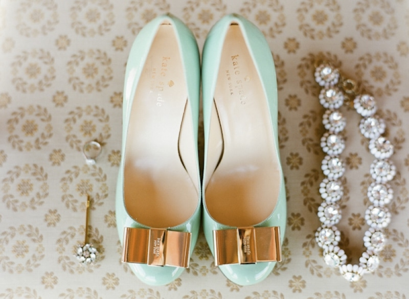bridal kate spade mint green shoes, photo by Taylor Lord Photography