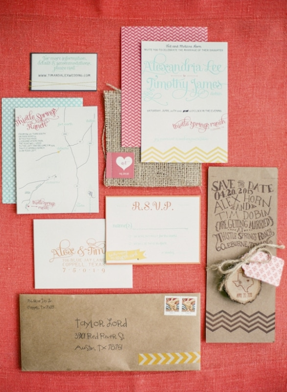 bright and colorful wedding invitation suite, photo by Taylor Lord Photography