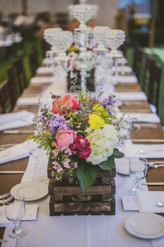 floral centerpiece in rustic wood crate, photo by The Oberports