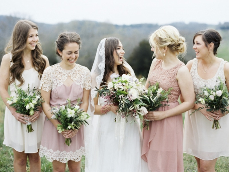 pink and white bridesmaid dresses, photo by Erich McVey Photography