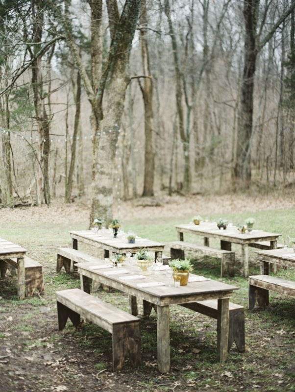 outdoor rustic table tops for wedding reception, photo by Erich McVey Photography