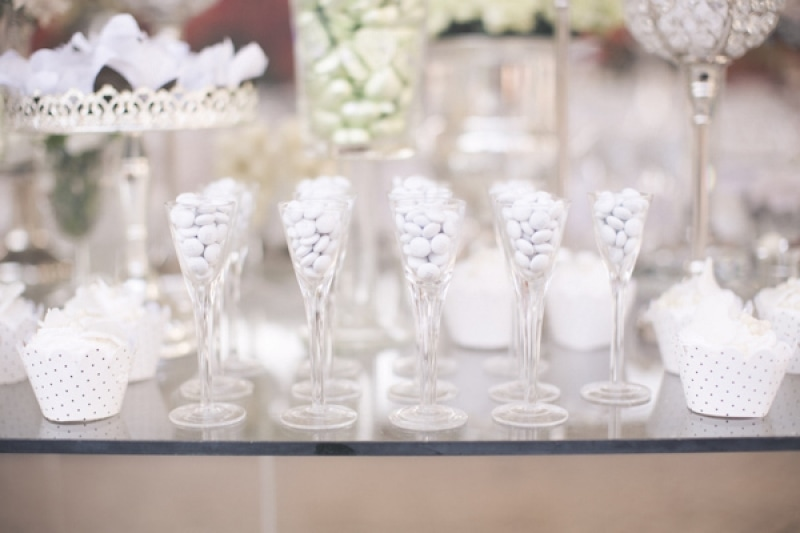 white candy dessert table, photo by Melissa Jill Photography