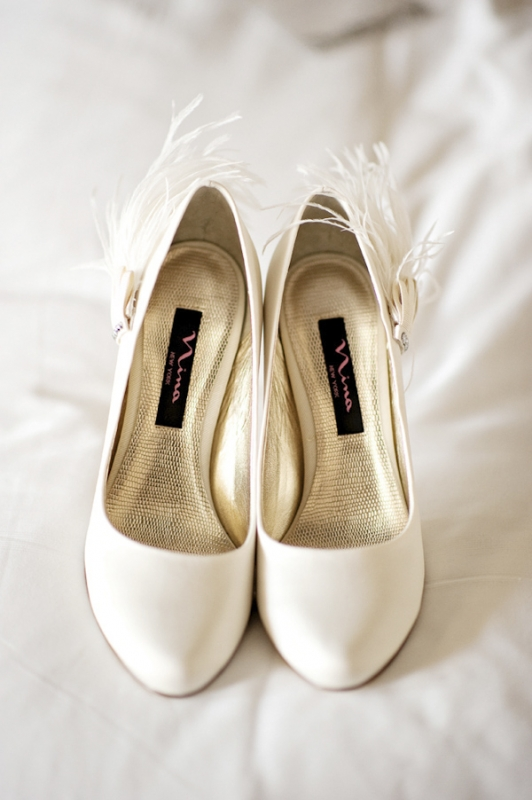 white bridal shoes with feathers, photo by Kristen Weaver Photography