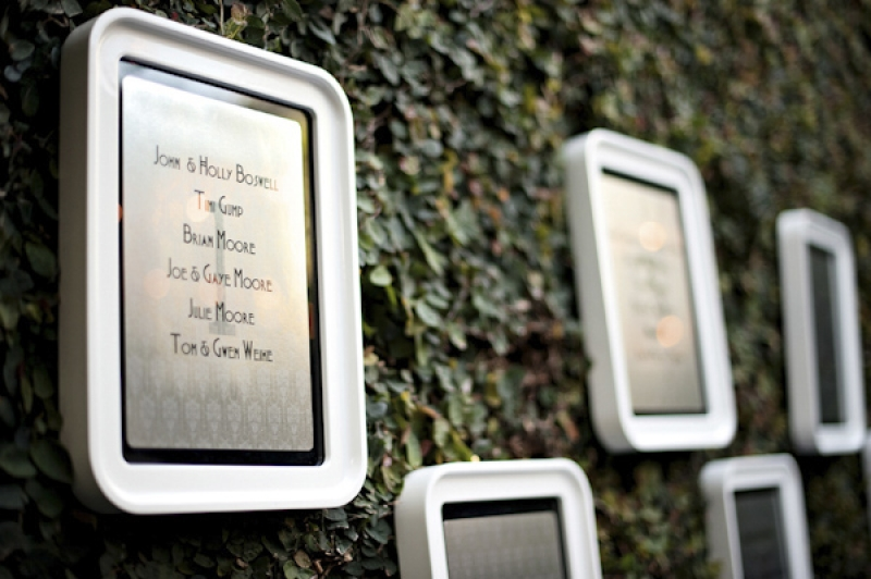 escort seating cards etched on glass frames, photo by Kristen Weaver Photography