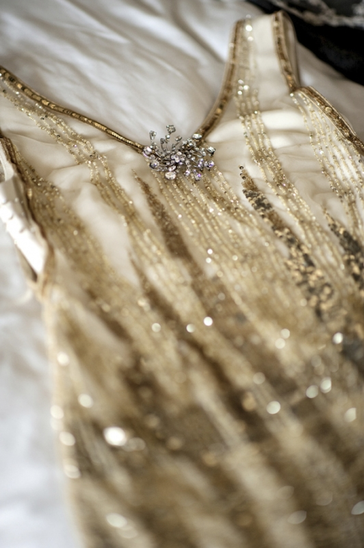 gold beaded 1920s inspired wedding dress, photo by Kristen Weaver Photography
