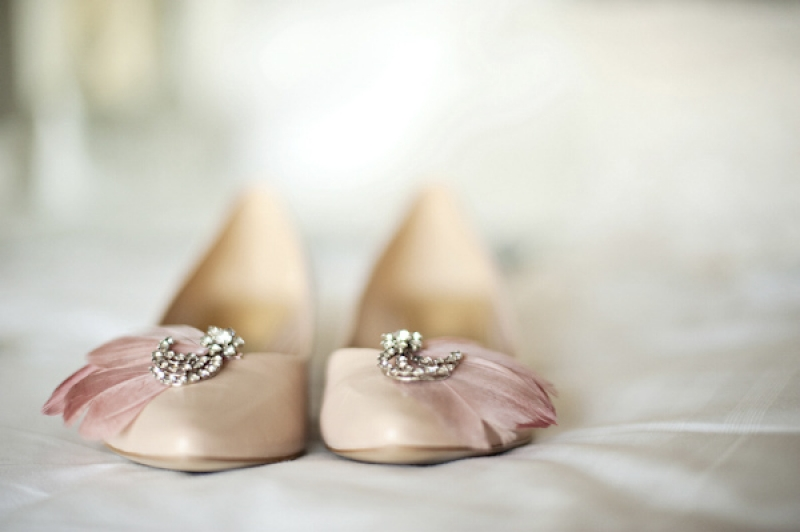 pink bridesmaids flats with embellishments, photo by Kristen Weaver Photography