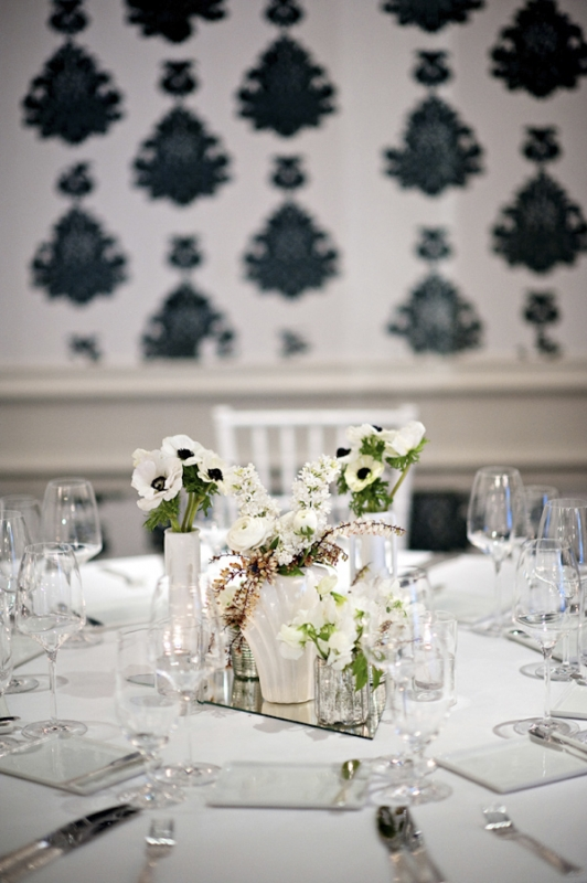 black and white table top with floral centerpiece, photo by Kristen Weaver Photography