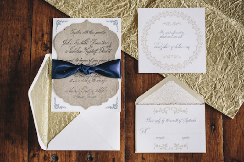 navy and gold invitation suite, photo by Vue Photography