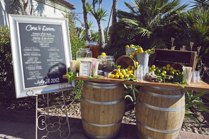 lemonade table at wedding ceremony, photo by Duke Photography
