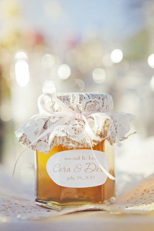 Lace Covered Personalized Jar Of Honey As Wedding Favor Photo By
