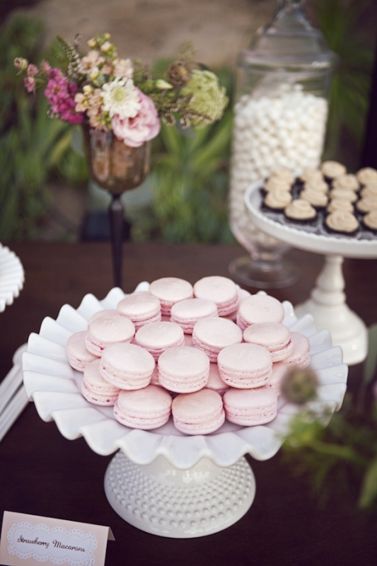 pink macaroons on white milk glass stands for dessert table, photo by Duke Photography