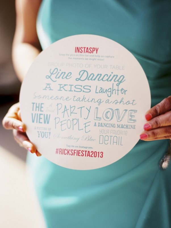 blue and pink wedding signage, photo by Jillian Mitchell