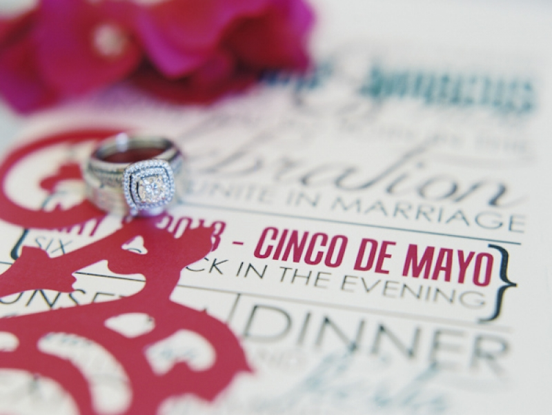 square cut diamond ring and bright wedding invitation, photo by Jillian Mitchell