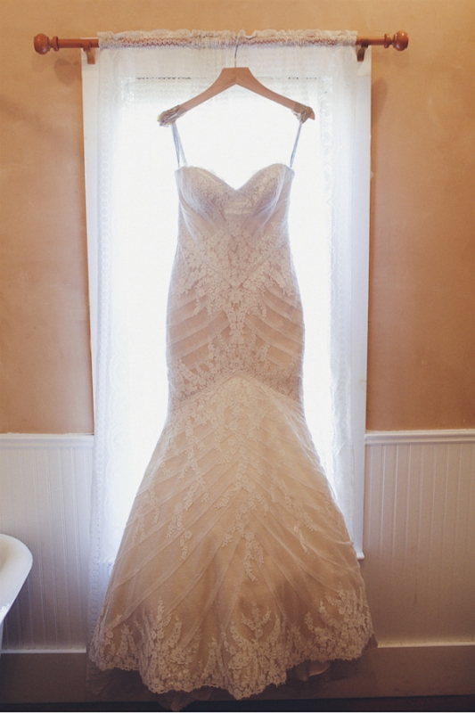 gorgeous cream and white strapless wedding dress, photo by Christina Carroll Photography